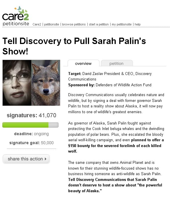 Click to Palin TLC Petition