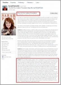 Sarah Palin Facebook Lies