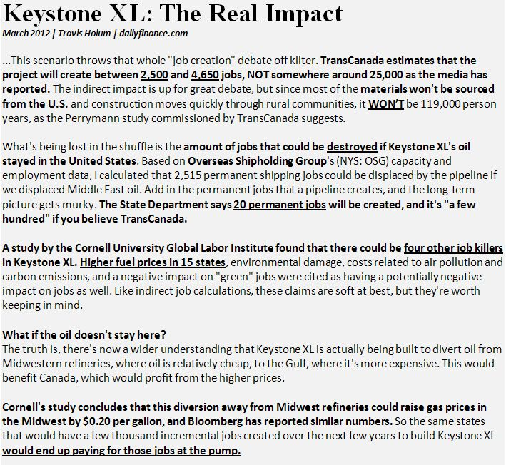 Keystone Jobs, The Facts